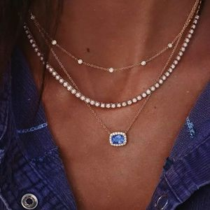 Jewelry - 5/$25 Gold Blue Diamond Crystal Layer Necklace